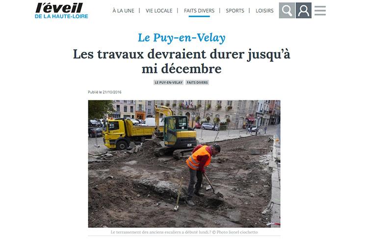 Vue d'un article de presse local parue dans le site internet de l'éveil de la Haute-Loire
