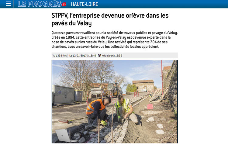 Vue d'un article de presse local parue dans le site internet du progrés - Haute-Loire