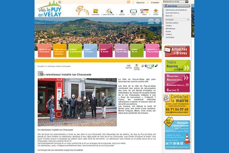Vue d'un article de presse local parue dans le site internet de la ville le Puy en Velay