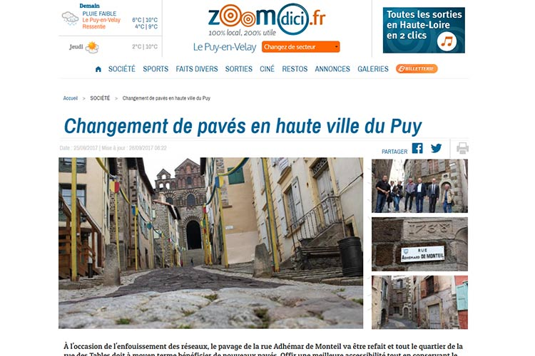 Vue d'un article de presse local parue dans zommdici.fr